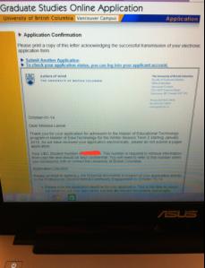 UBC MET Application Screen