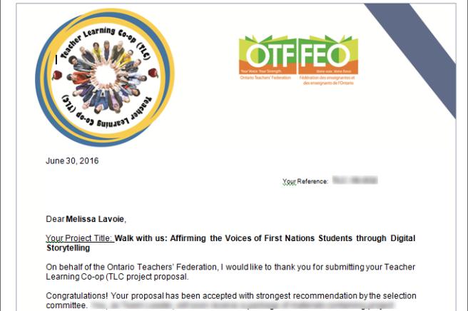 OTF Acceptance Letter